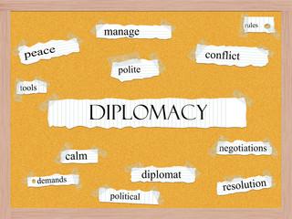 Diplomacy Corkboard Word Concept
