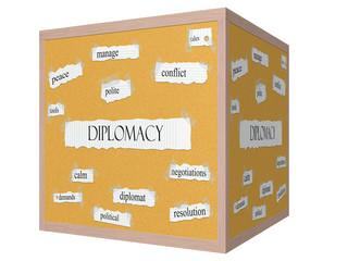 Diplomacy 3D cube Corkboard Word Concept