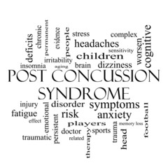 Post Concussion Syndrome Word Cloud Concept in black and white