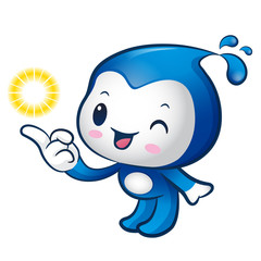 Water sprite mascot the direction of pointing. Nature Character