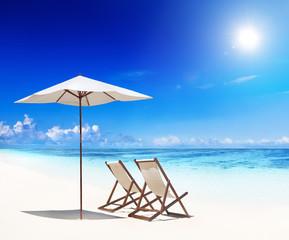 Deck Chairs on White Sand Beach