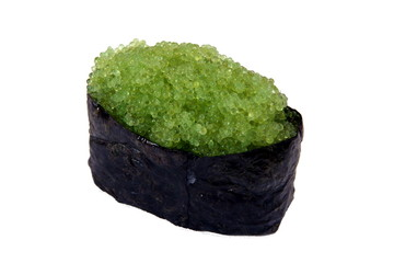 Sushi with tobiko wasabi