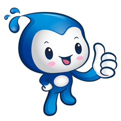 Water sprite Mascot the hand best gesture. Nature Character Desi