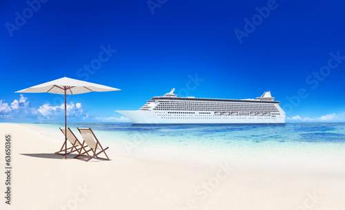 Tropical Paradise With Cruise Ship