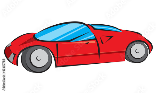 Red Modern Car Vector Illustration