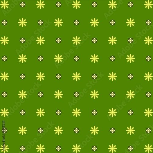 70s Seamless pattern wallpaper green polka flowers