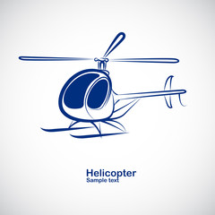 helicopter in perspective - vector illustration