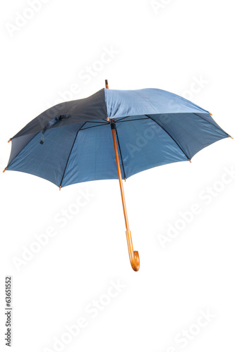 Open blue umbrella isolated on white