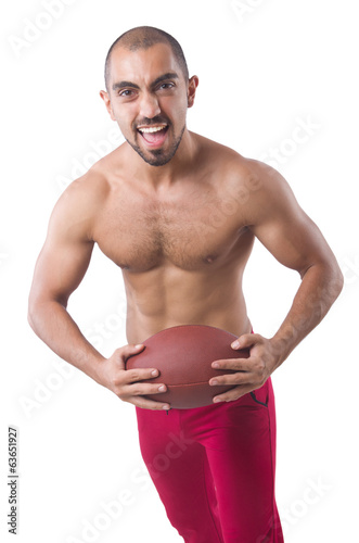 Sportsman  training with american football isolated  on white