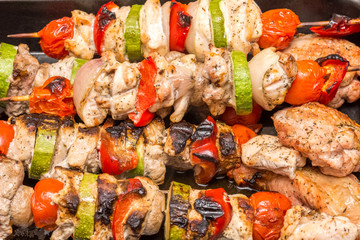 Barbecue Shishkabob With Chicken, Peppers, Mushrooms, Tomatoes