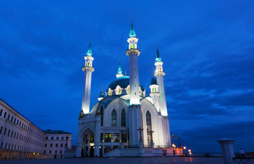 View of the mosque Qol Sharif in Kazan at night
