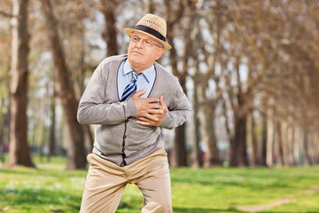 Senior having a cardiac arrest in the park