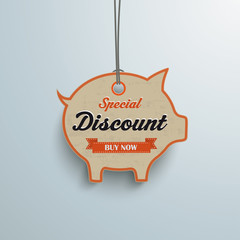 White Price Sticker Piggy Bank