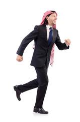 Running arab man isolated on white