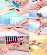 Collage of manicure process in salon