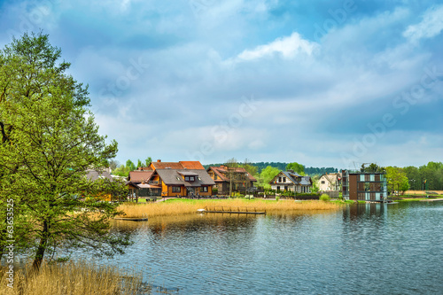 Houses on embankment of lake