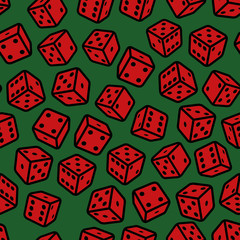 Red Gambling Dices Seamless Pattern on Green Background. Vector