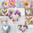 Romantische Collage aus Blüten und Herzen :)