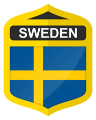 Sweden - Golden shield icon with national flag
