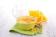 cornflake with milk and orange juice