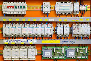 Control panel with static energy meters and circuit-breakers