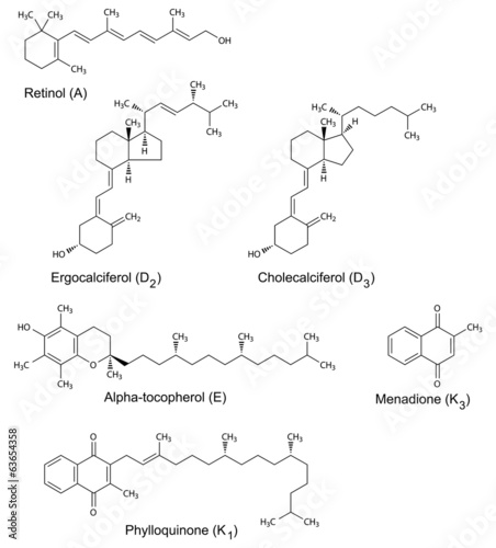 Chemical formulas of liposoluble vitamins