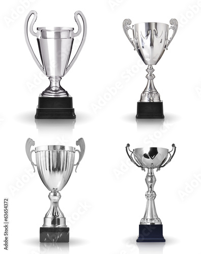 Set of different kind of silver trophies. Isolated on white back