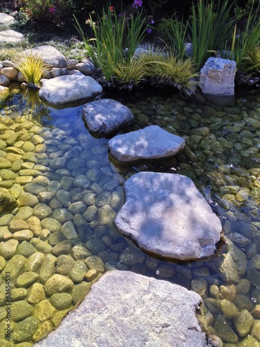 Stone Path across a tranquil pond at a Japanese Garden