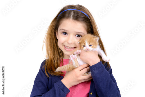 Girl with baby cat