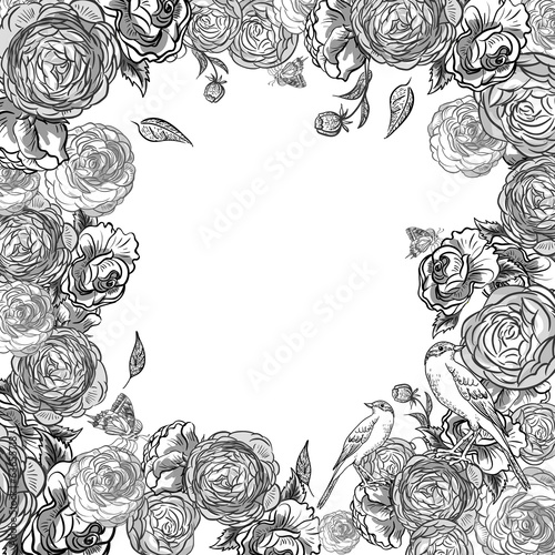 Monochrome  Invitation Card Design with Flowers