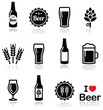 Beer vector icons set - bottle, glass, pint - 63655946
