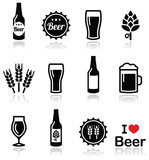 Beer vector icons set - bottle, glass, pint poster