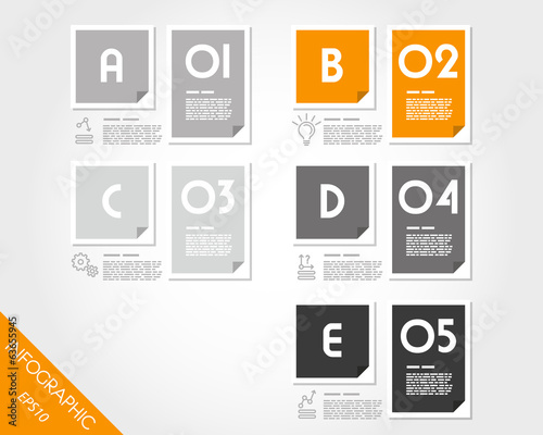 set of orange flat infographic rectangular stickers