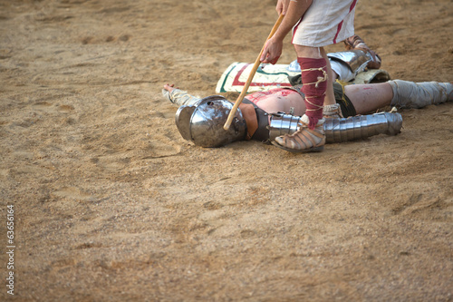 Secutor gladiator on ground