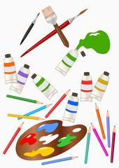 colori, matite e pennelli