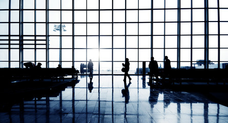 Silhouettes Of Group Of Business People Waiting