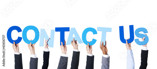 Multiethnic Business People Holding Contact Us