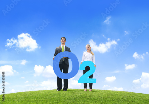Business People Holding Oxygen O2 Outdoors