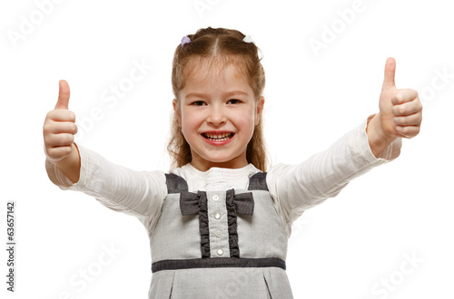 Little girl showing OK sign with both hands