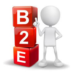 3d illustration of person with word B2E cubes