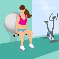 Beautiful woman squats with dumbbells using fitness ball
