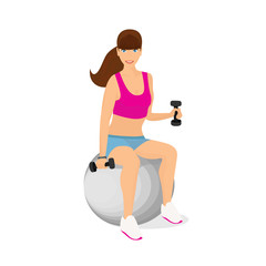 Beautiful woman exercising with two dumbbell weights sitting on