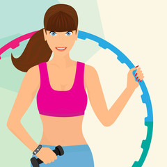 Beautiful woman exercising with hula hoop