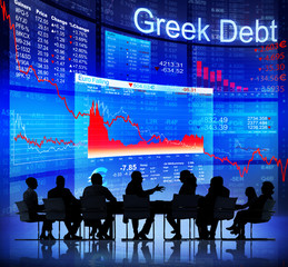 Business People Discussing About The Greek Debt