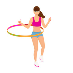 Beautiful woman exercising with hula hoop - isolated