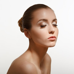 Beauty Portrait. Perfect Fresh Skin. Isolated on White Backgroun