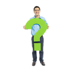 MIddle Eastern Man Holding Green Question Mark
