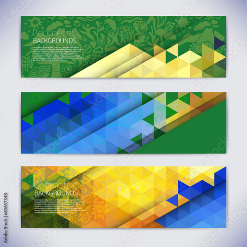 Vector colorful mosaic banners.Abstract geometric shapes