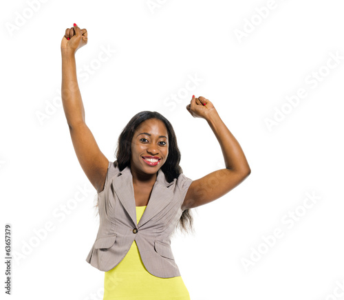 Cheerful Smart African Woman Celebrating