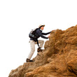 Female hiker on rocks isolated.